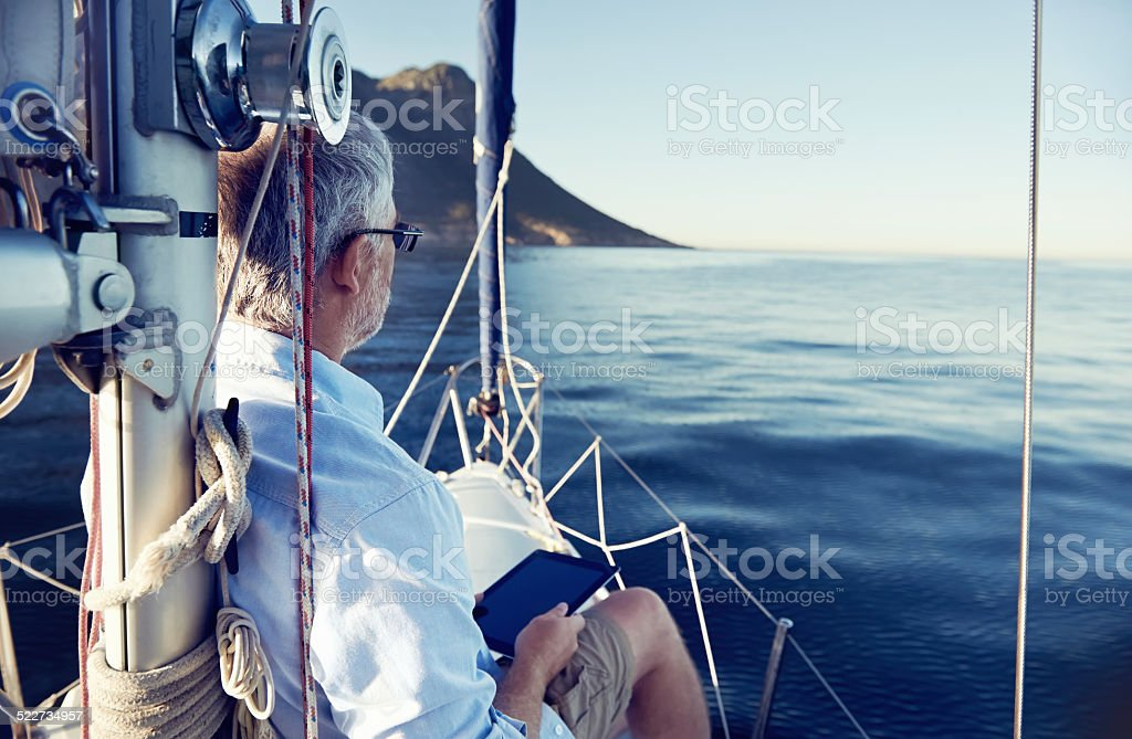 tablet computer on boat stock photo