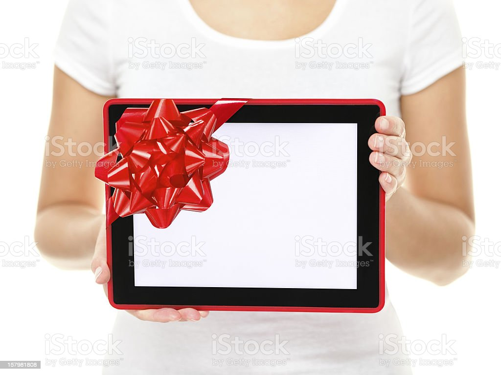 Tablet computer screen gift royalty-free stock photo