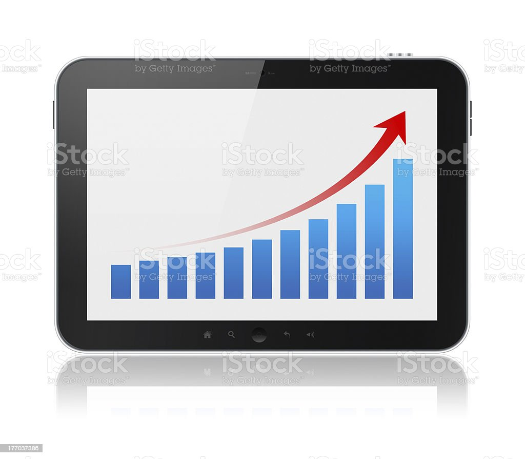 Tablet Computer Showing Success Graph Isolated royalty-free stock photo