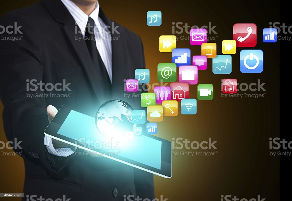 Tablet computer with application icons stock photo