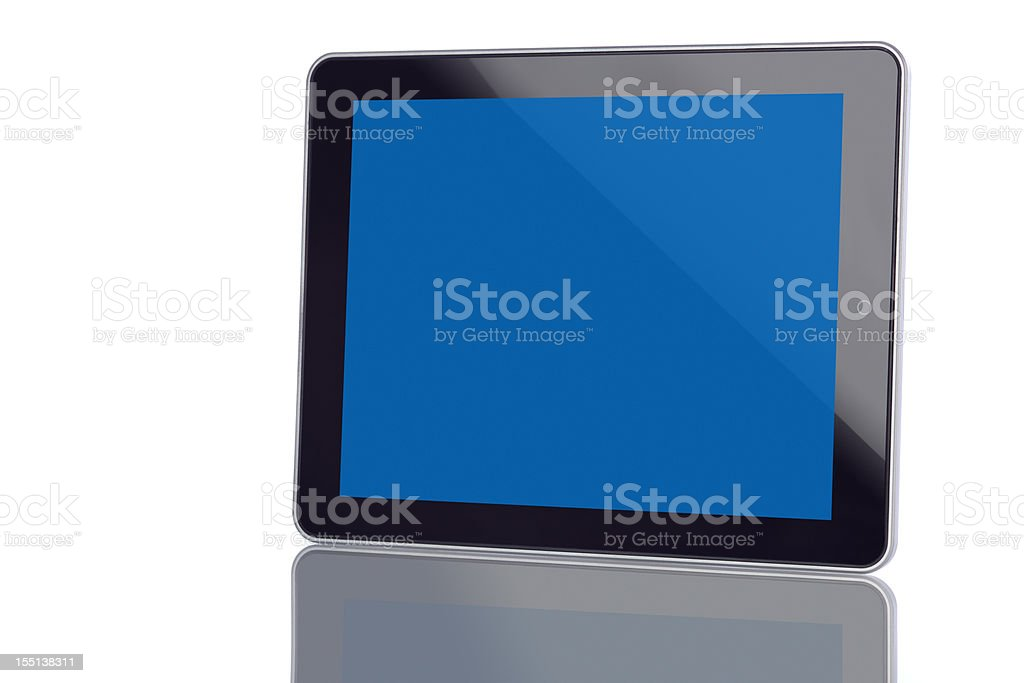 Tablet Computer With Blank Blue Screen royalty-free stock photo