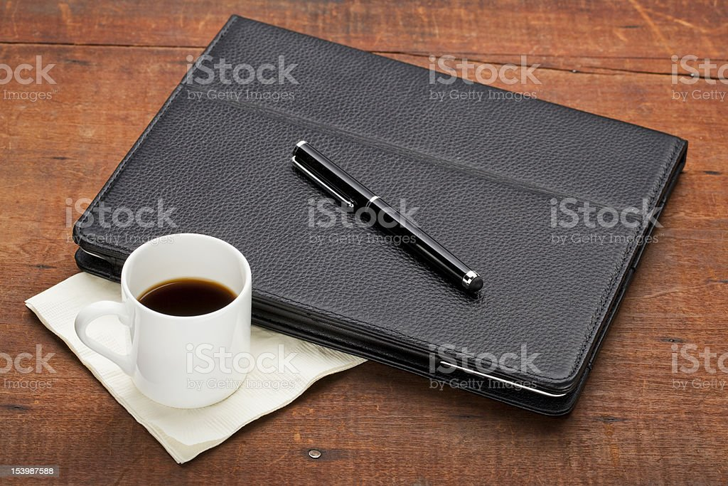 tablet computer with coffee royalty-free stock photo
