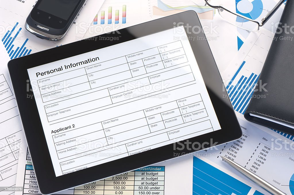 tablet computer with online form royalty-free stock photo