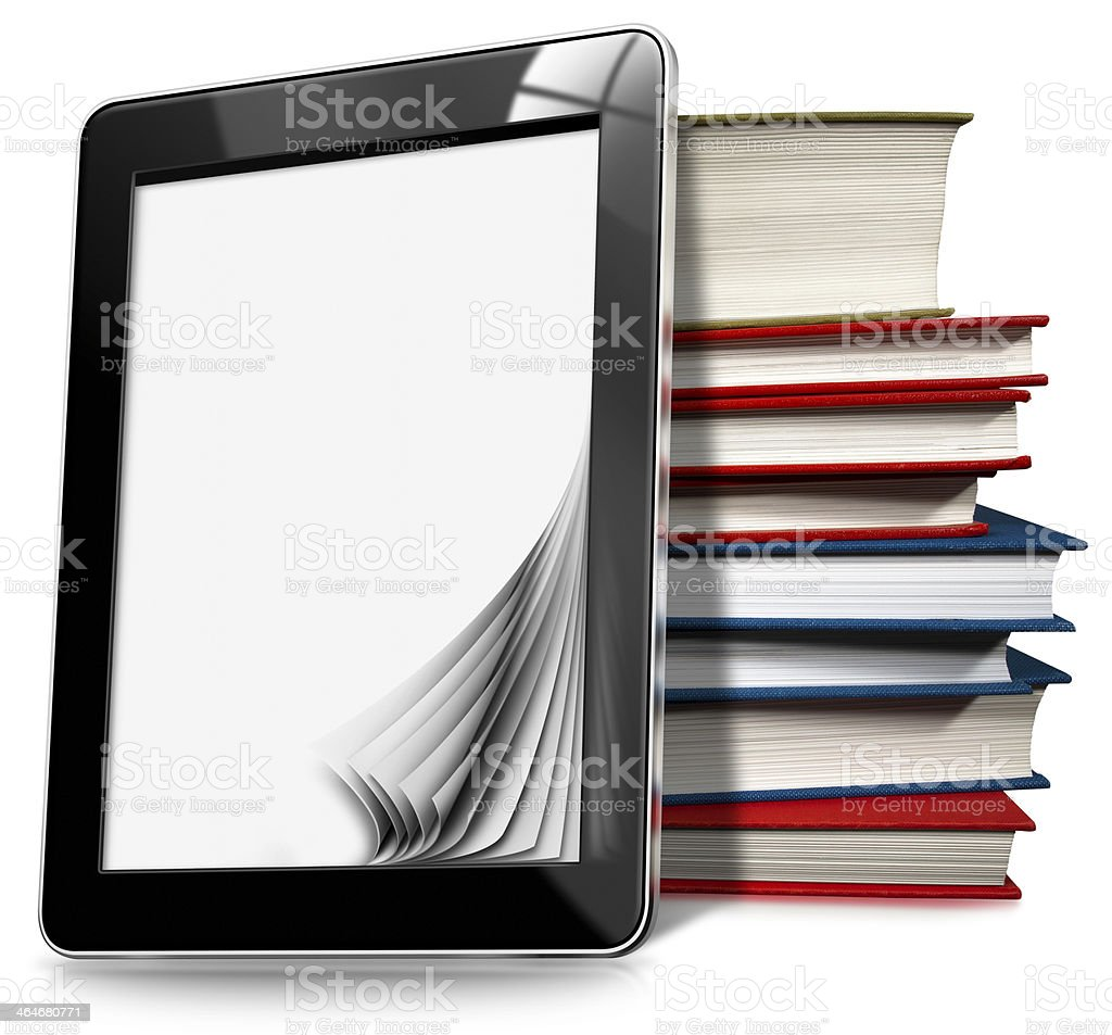 Tablet Computer with Pages and Books stock photo
