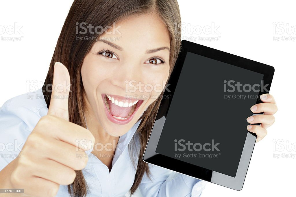 Tablet computer woman happy royalty-free stock photo