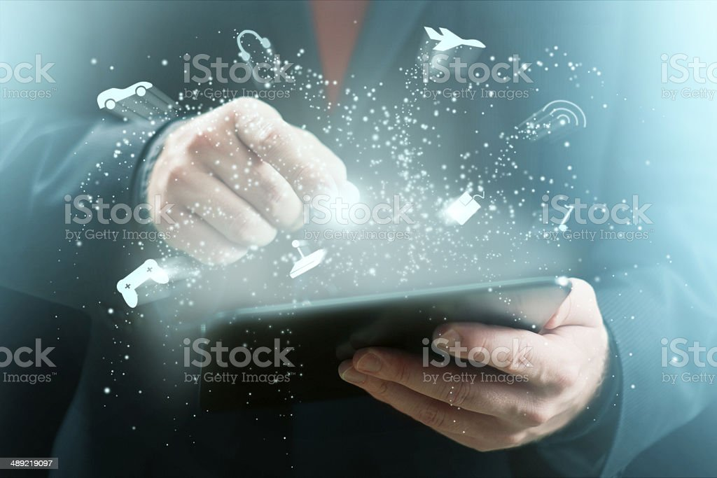 Tablet Gaming stock photo