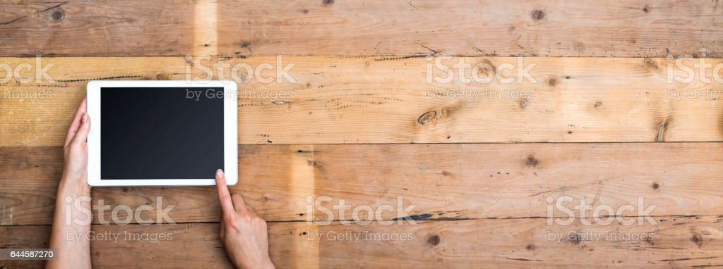 tablet header with copy space stock photo