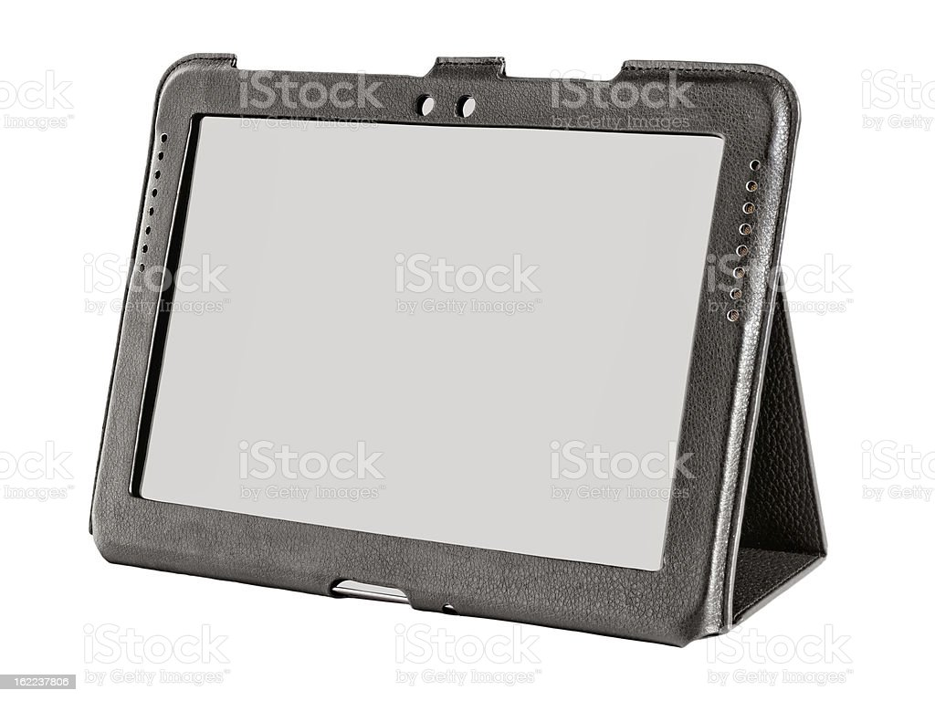 tablet in a leather case royalty-free stock photo