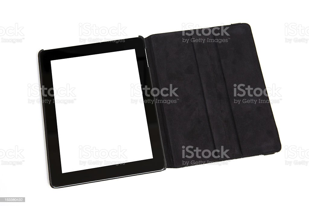 tablet in black carrying case royalty-free stock photo