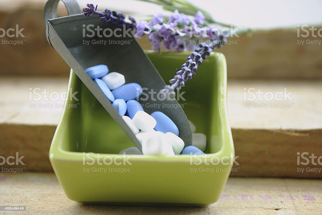 Tablet in green pot stock photo