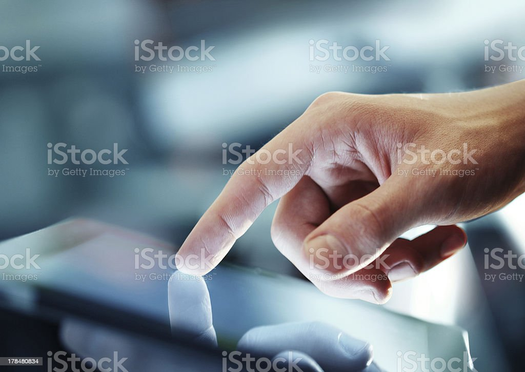 tablet in hand stock photo