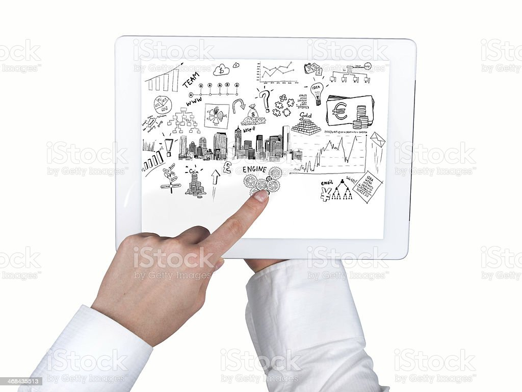 tablet in hands and business concept on the screen royalty-free stock photo