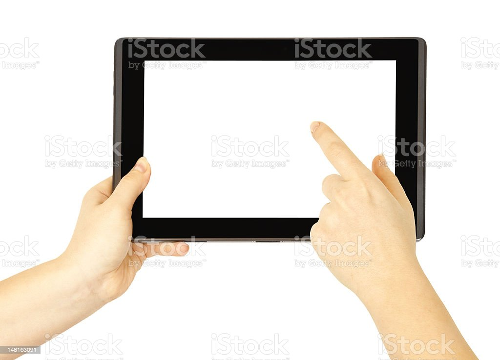 Tablet in woman hands royalty-free stock photo