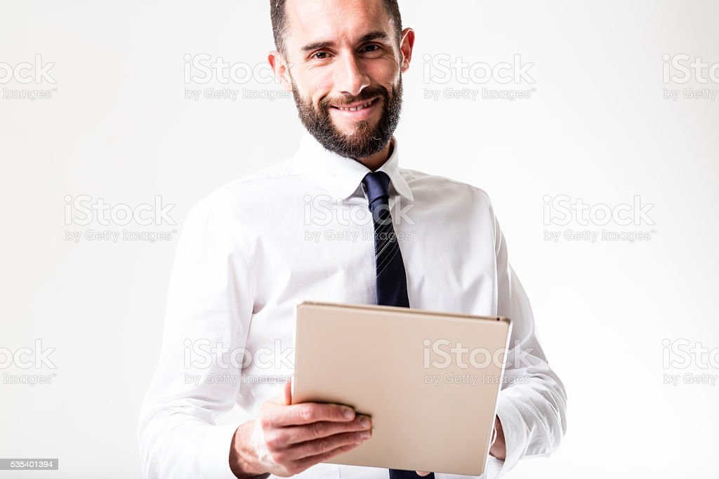 tablet man with his business stock photo
