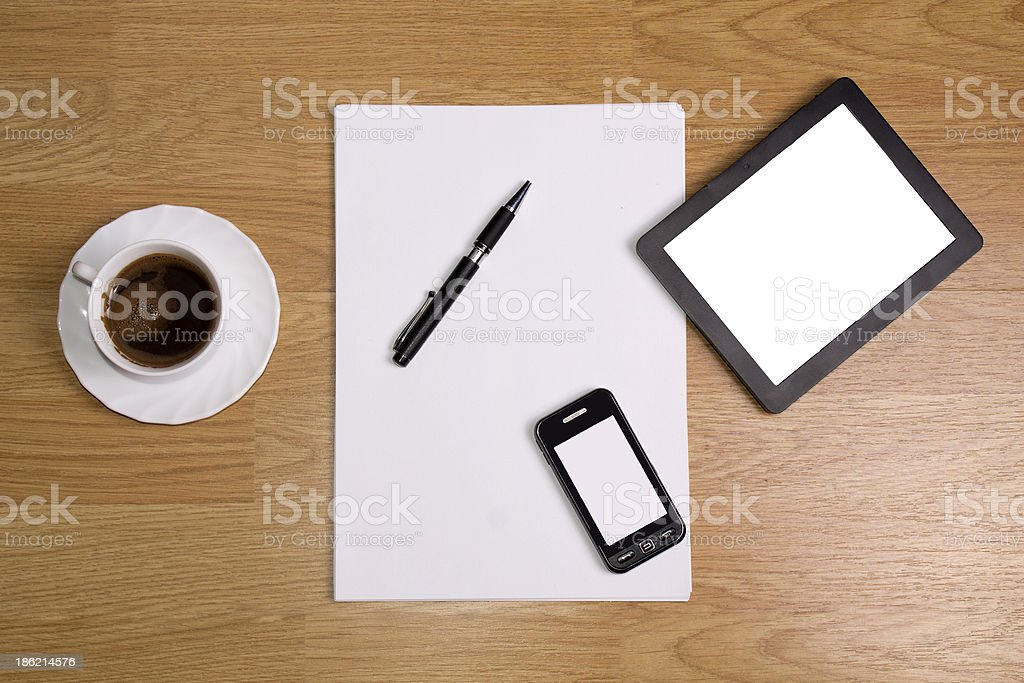 tablet on desk royalty-free stock photo