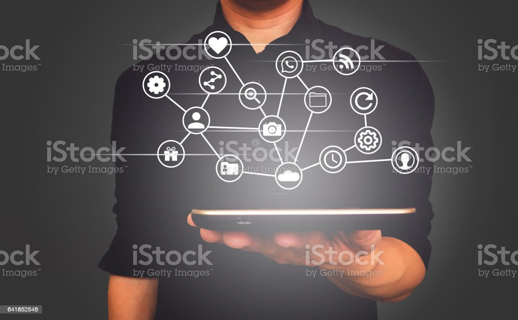 Tablet on human hand for business, network, social media concept. stock photo