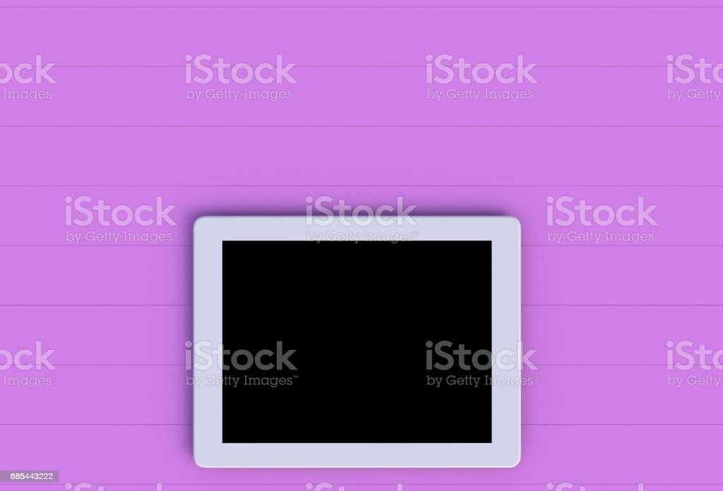 Tablet on pink wood table, 3D rendering stock photo