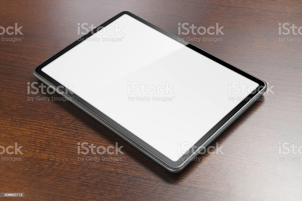 Tablet on table royalty-free stock photo