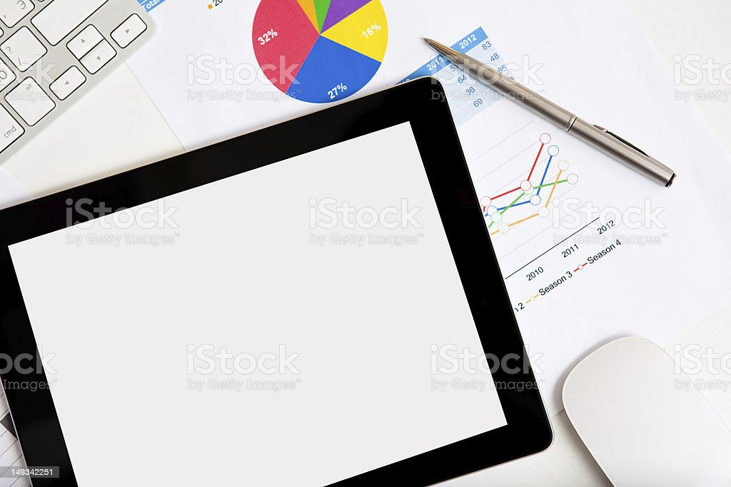 Tablet on the desk of a businessman royalty-free stock photo