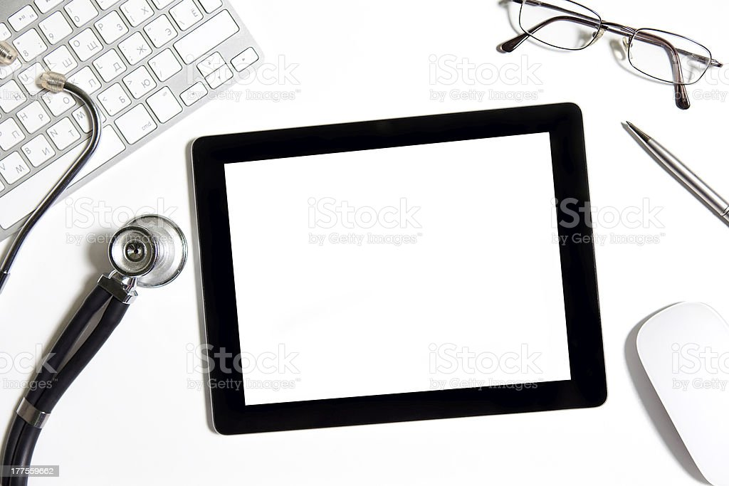 tablet on the table of doctor royalty-free stock photo