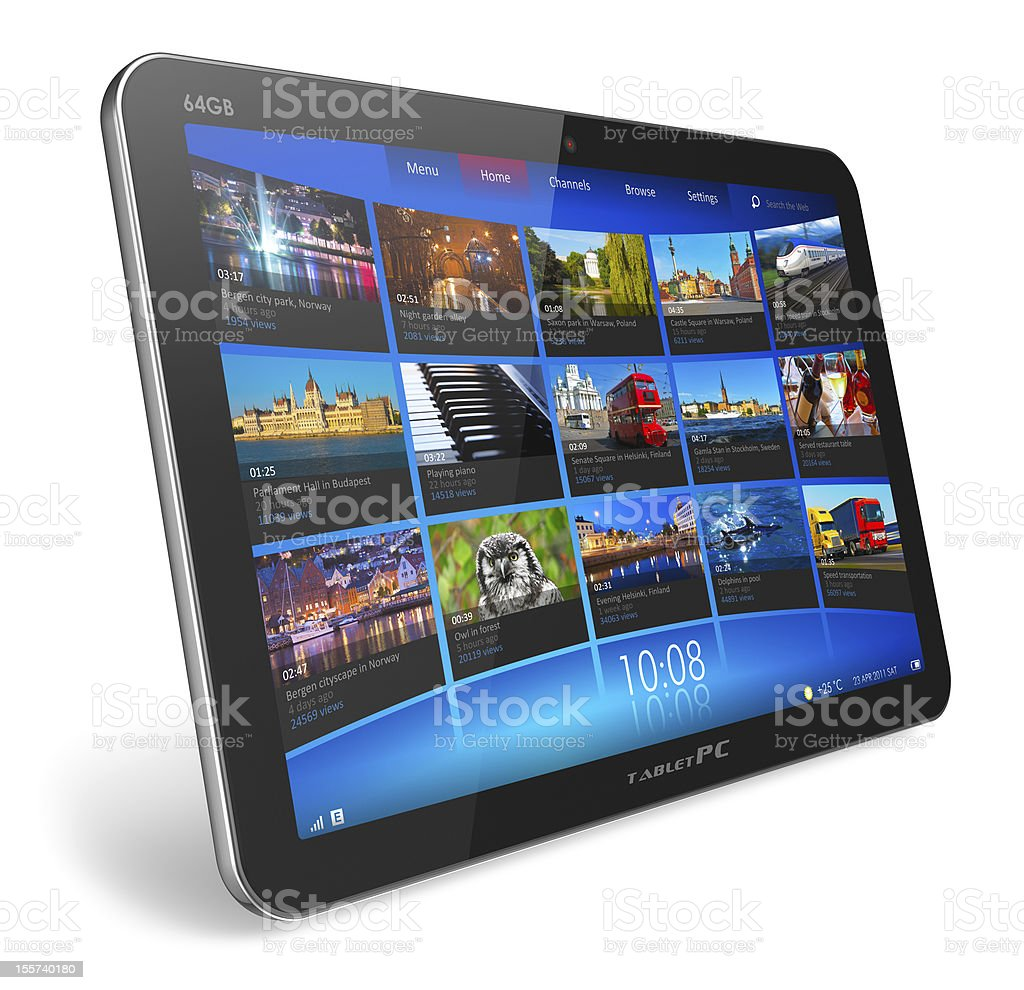 Tablet PC 64GB showing tile menu stock photo