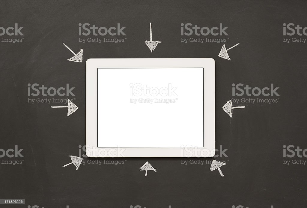 Tablet pc and arrow signs royalty-free stock photo