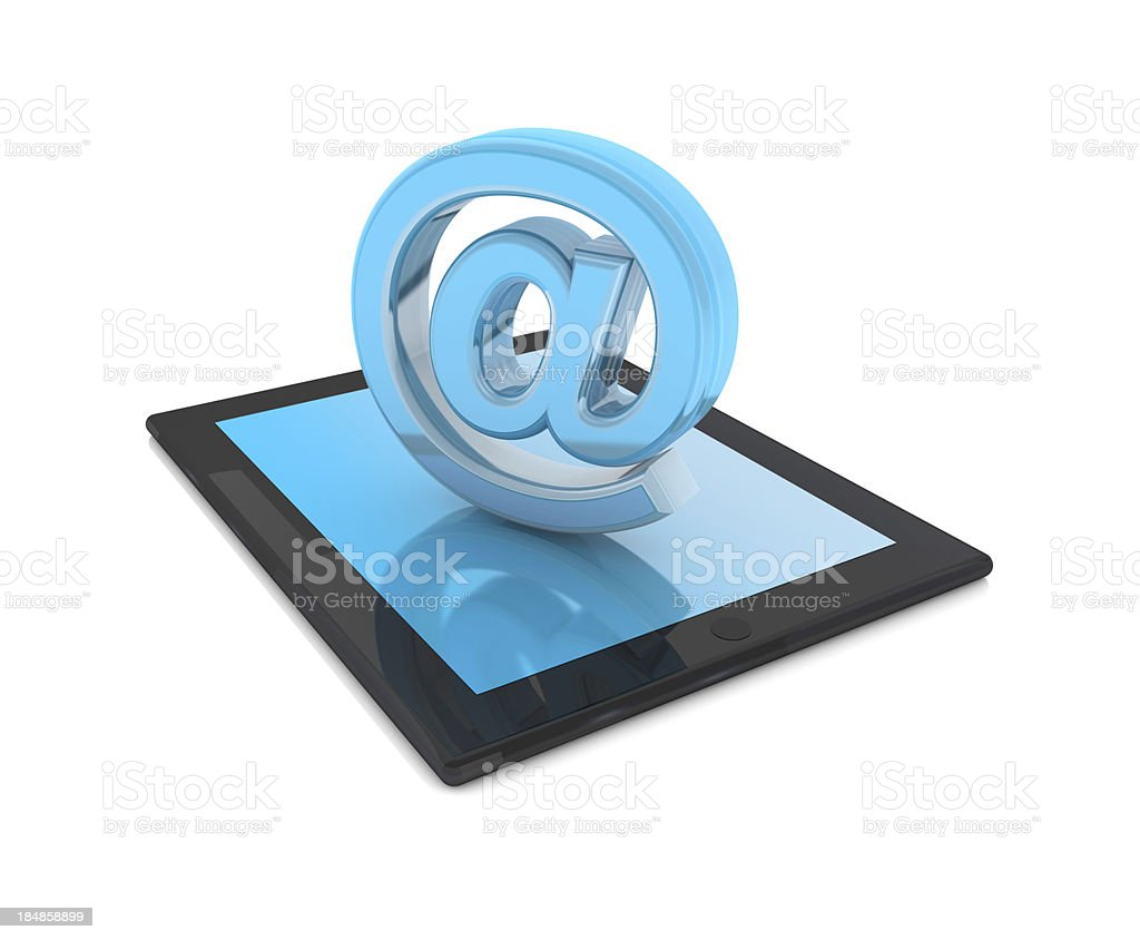 Tablet PC and at sign royalty-free stock photo