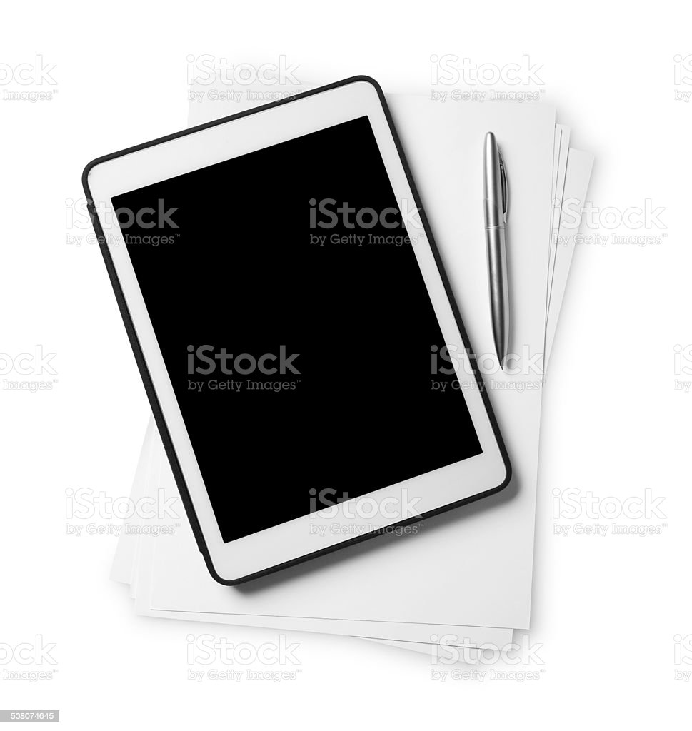 Tablet PC and blank papers stock photo