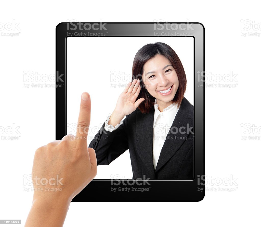 Tablet pc and business secretary listen in screen royalty-free stock photo