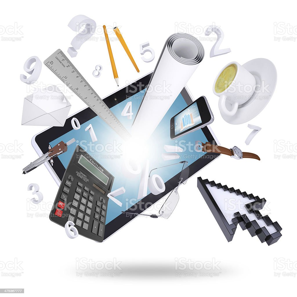Tablet pc and office supplies royalty-free stock photo