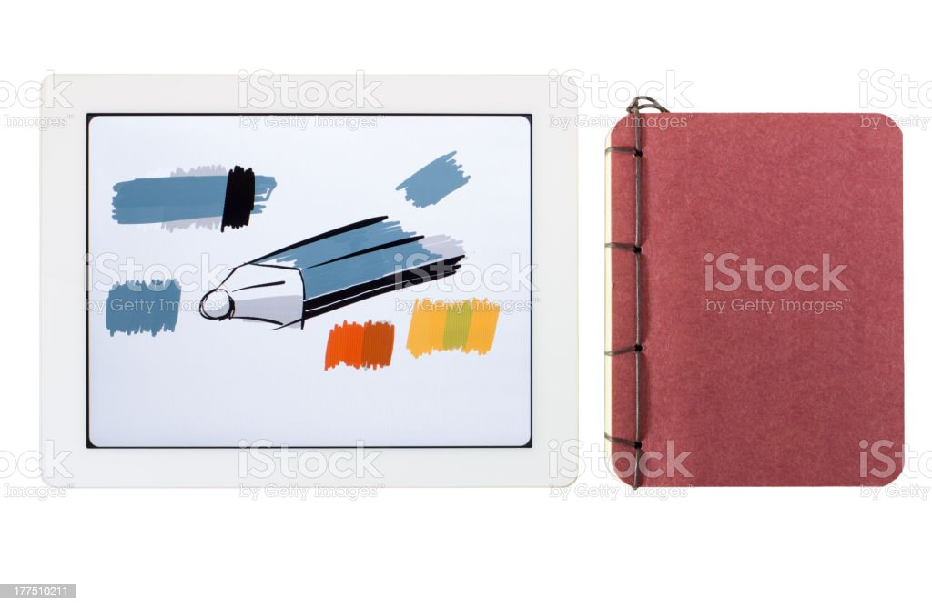 tablet pc and sketch book (Series) royalty-free stock photo