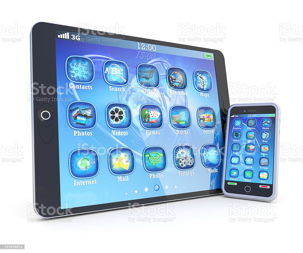 Tablet PC and Smartphone royalty-free stock photo