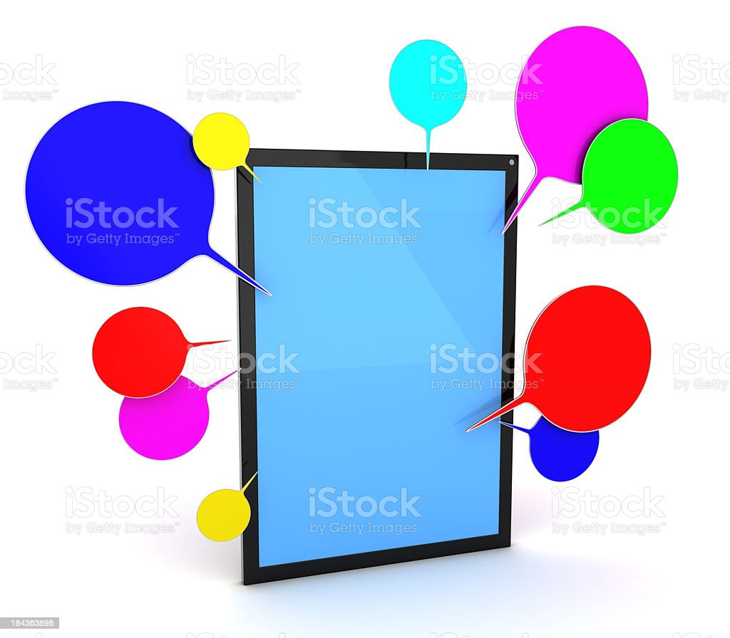 Tablet PC and speech bubbles royalty-free stock photo