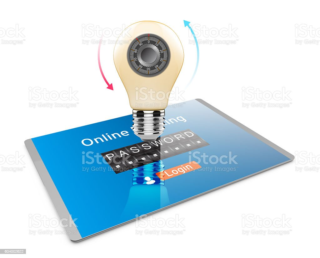 Tablet pc computer with security code stock photo