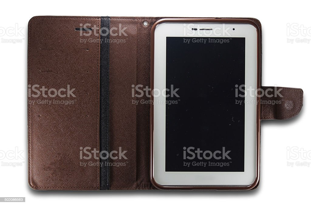 Tablet pc in leather case royalty-free stock photo