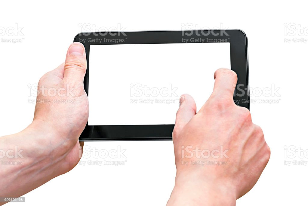 Tablet PC in the hands of men isolated on white stock photo