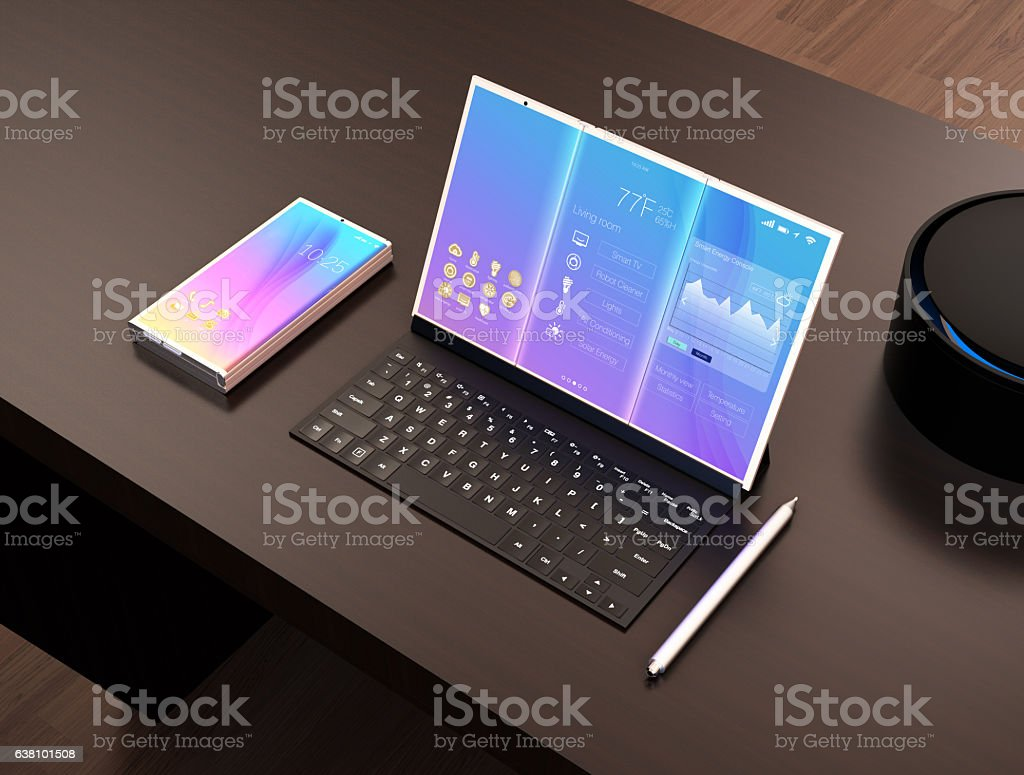 Tablet PC, keyboard, digital pen, voice assistant stock photo