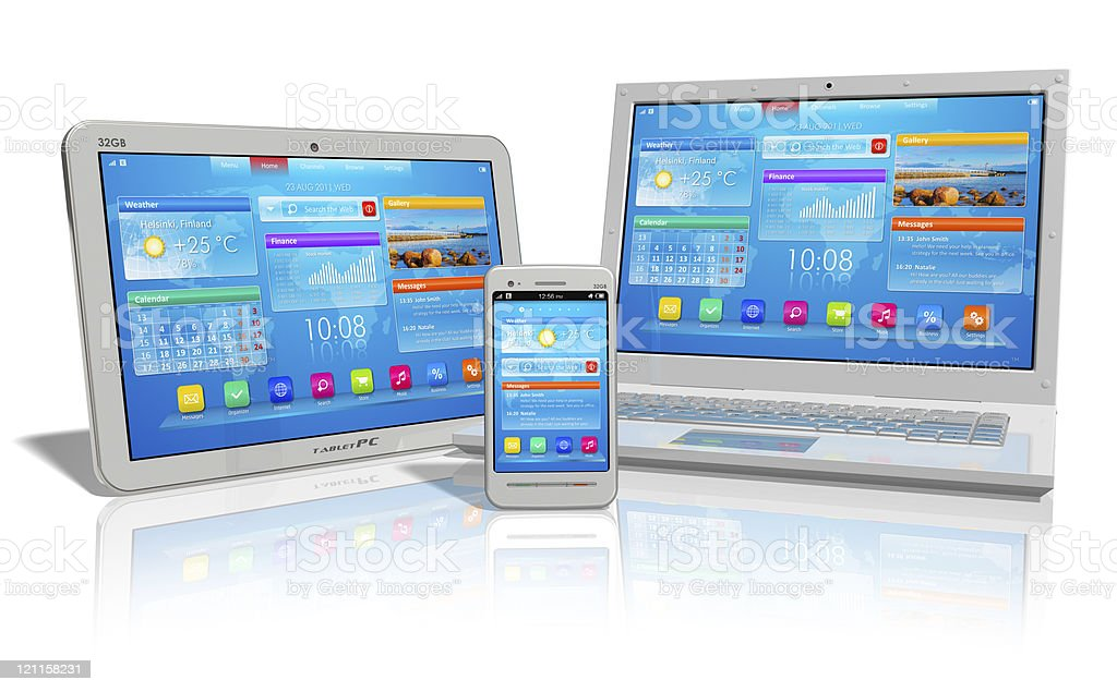 Tablet PC, laptop and phone on white background royalty-free stock photo