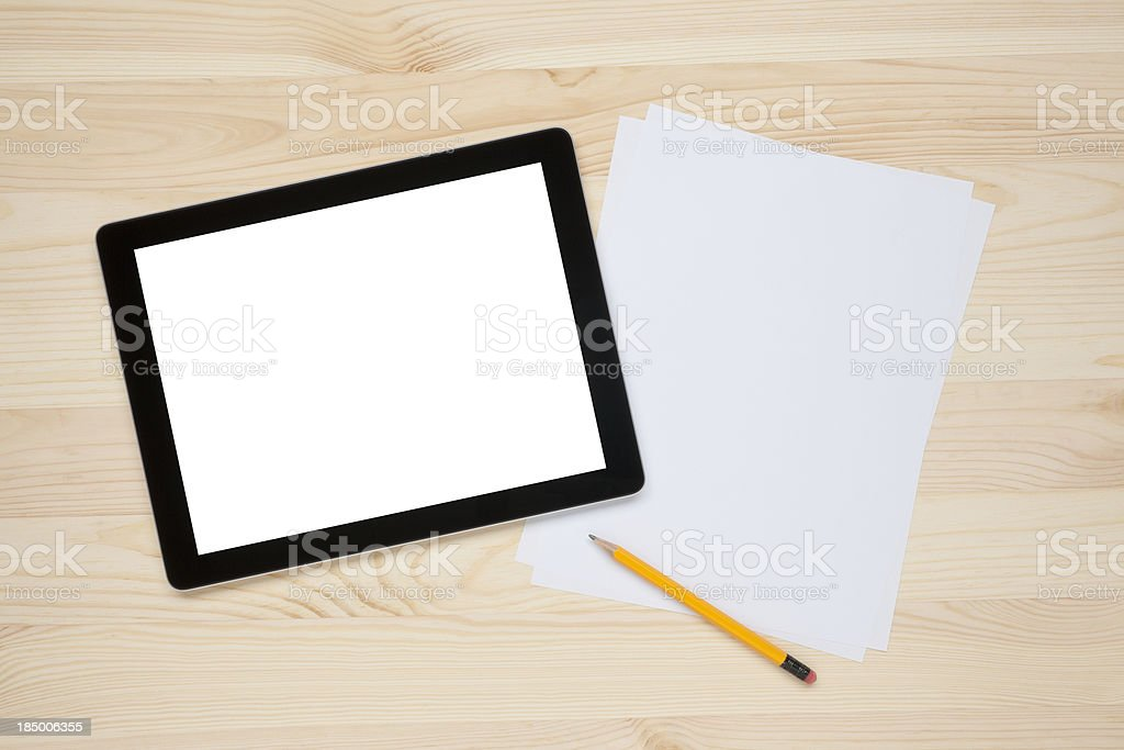 Tablet PC on a worktable stock photo