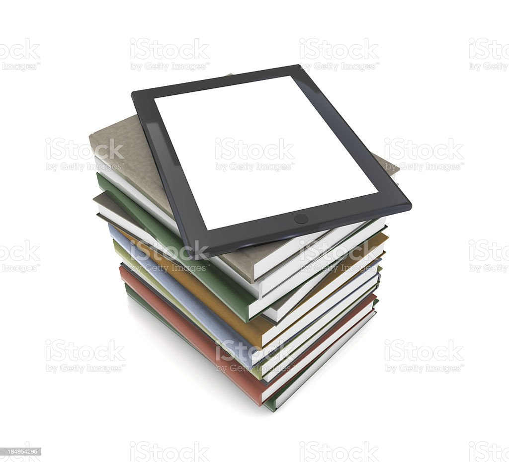Tablet PC on Books stock photo