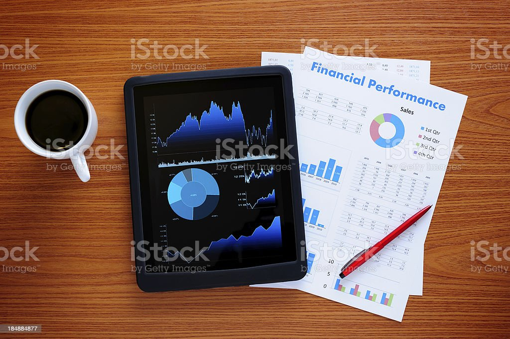 Tablet PC on business desk stock photo