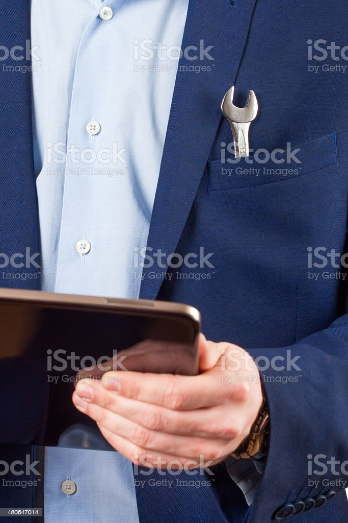 tablet PC on hands stock photo