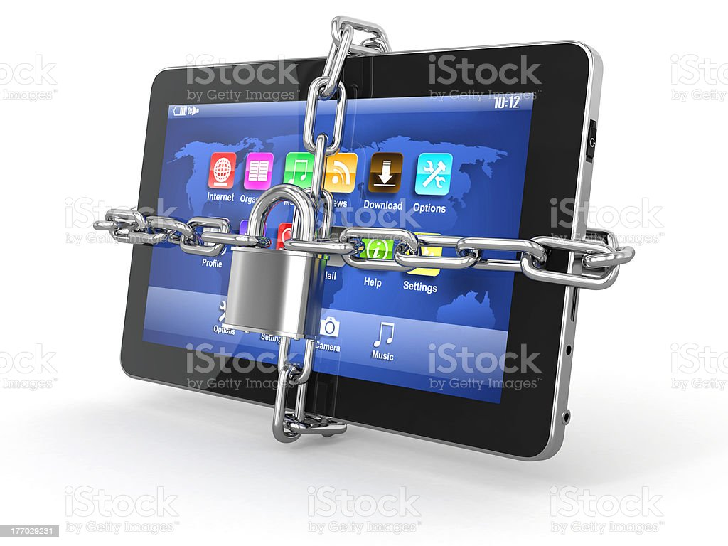 Tablet pc security. Chain with lock on computer. royalty-free stock photo