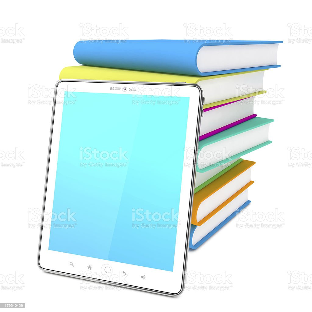 Tablet PC with Books. Education Concept royalty-free stock photo