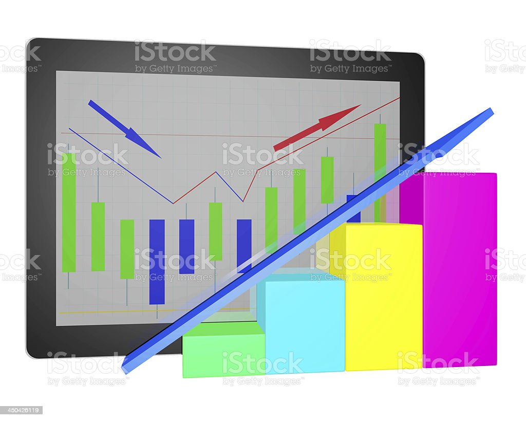 Tablet PC with financial graph diagram 3d on white background stock photo