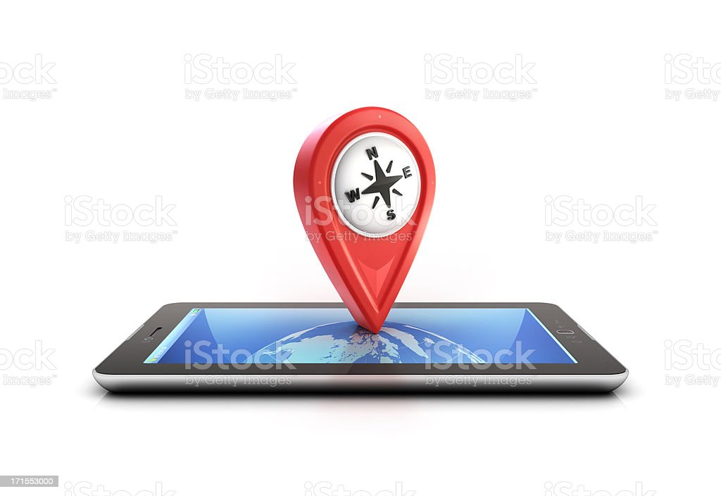 tablet pc with location drop pin stock photo