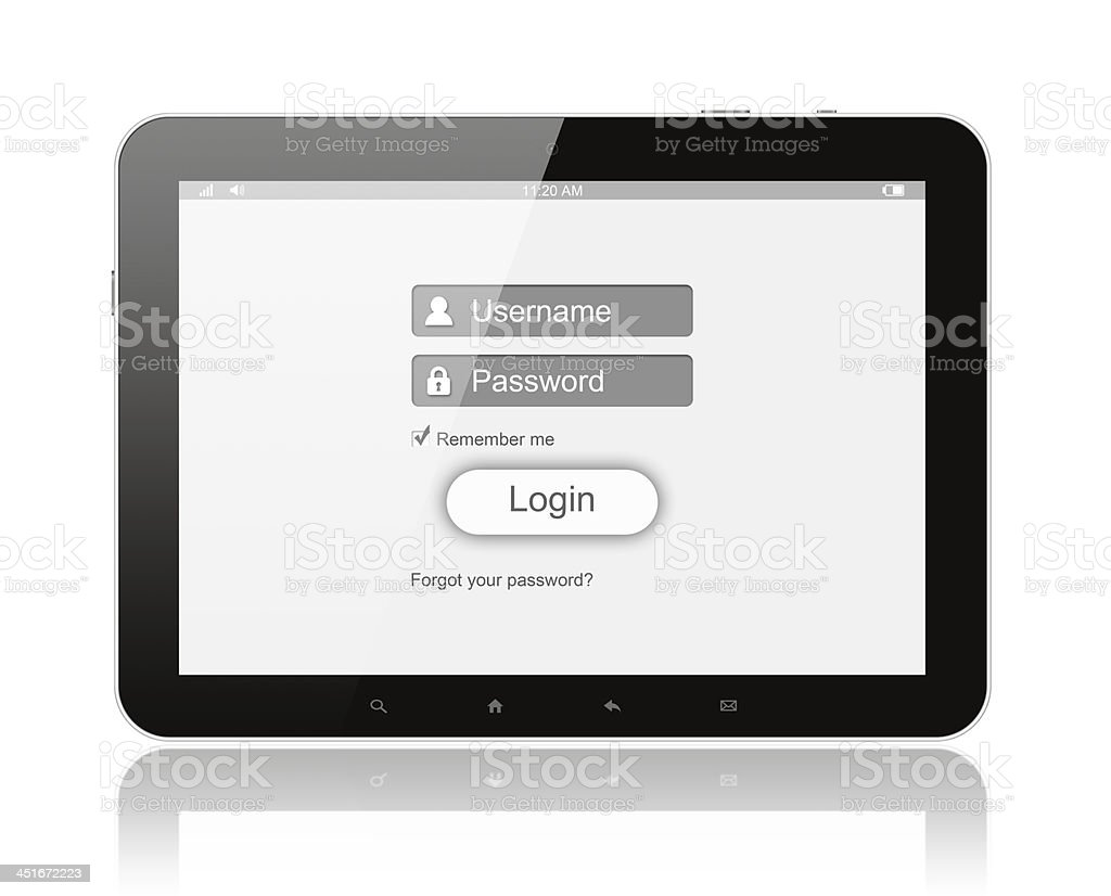 Tablet PC with login box stock photo
