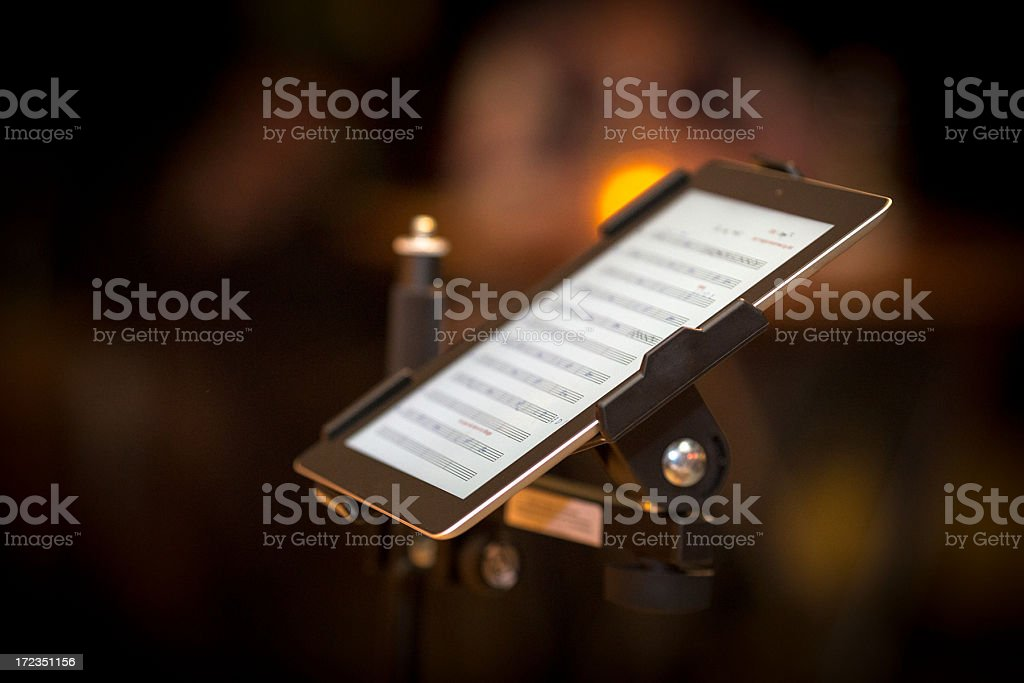 Tablet pc with notes on stage stock photo