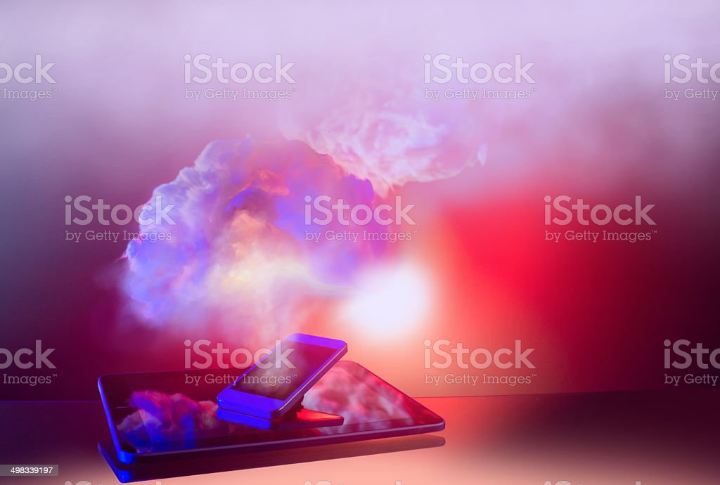 Tablet, phone and cloud stock photo