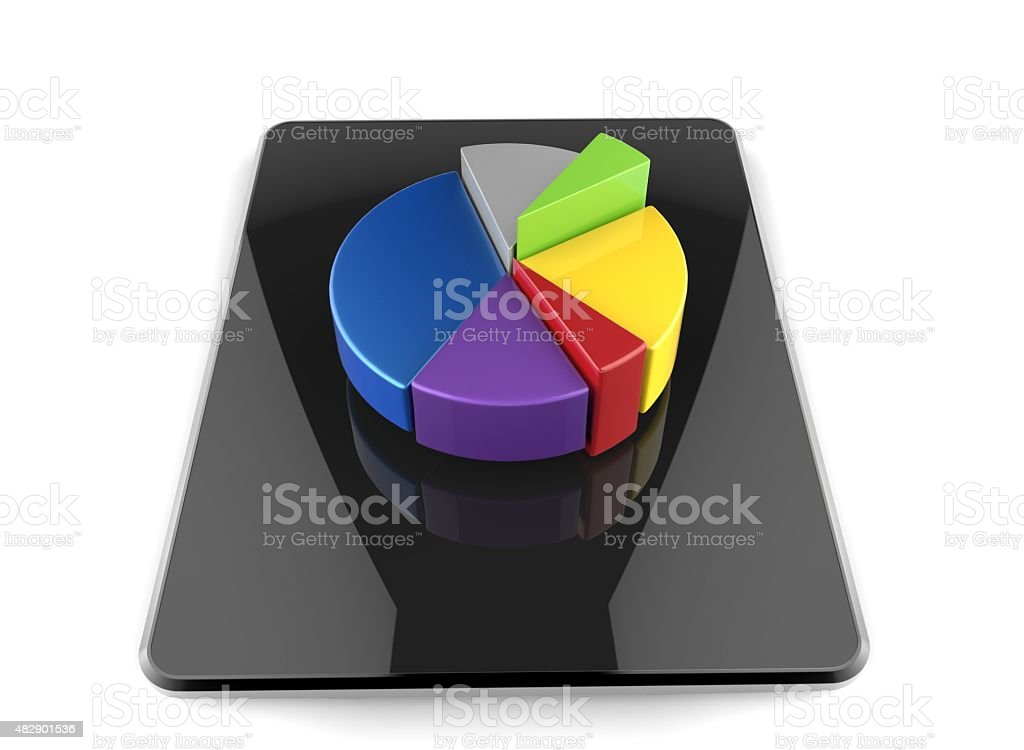 tablet pie chart stock photo